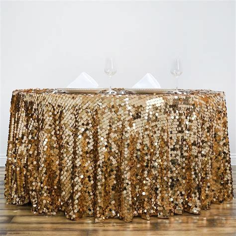 "120"" Big Payette Gold Sequin Round Tablecloth   Premium"
