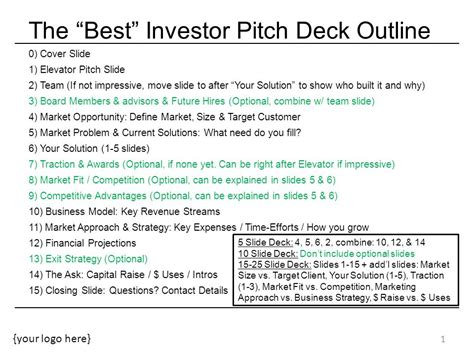 The Best Investor Pitch Deck Outline Ppt Video Online Download Investor Deck Template