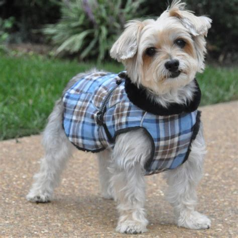 puppy winter coat plaid faux fur lined winter coat with harness opening flannel jackets with