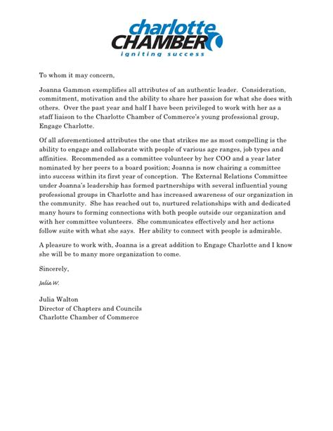 Commitment Letter For Volunteers Chamber Reference Letter
