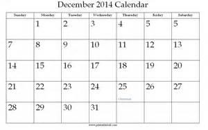 Calendar For December 2014 December 2014 Printable Calendar 171 Printable Hub