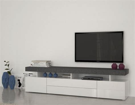 White Gloss Tv Stand Cabinet by Treviso 5 Modern Tv Cabinet In White Gloss And Grey