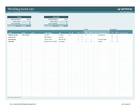 guest list excel template wedding guestlist template for excel