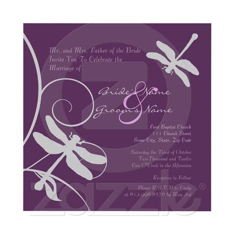 dragonfly wedding invitation template purple and silver dragonfly wedding invitation dragonfly