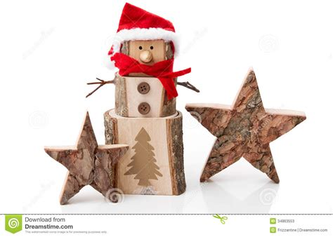 wooden christmas decoration stars and santa hat o stock