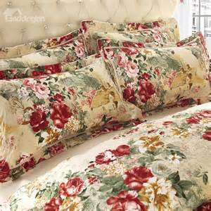 Country Style Bedspreads And Quilts Country Style Flower Print Sandedcloth Material 4 Piece