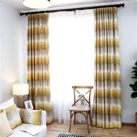 Yellow and Grey Ombre Chevron Jacquard Poly/Cotton Blend