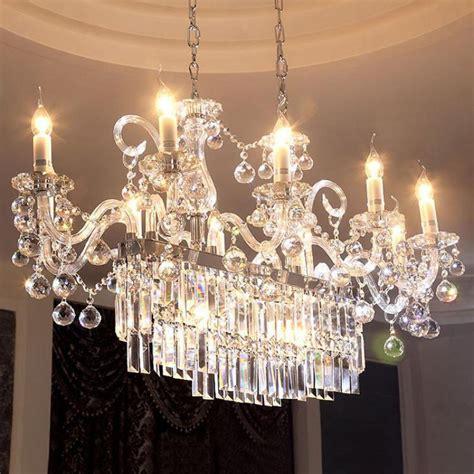 lcm rectanglar clear crystal lighting  dining room
