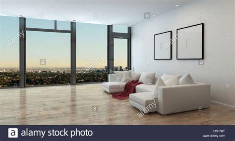 rote decke panorama high rise wohnung interieur mit blick auf