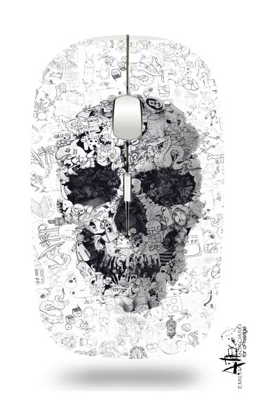doodle mouse city wireless optical mouse with usb receiver with skulls
