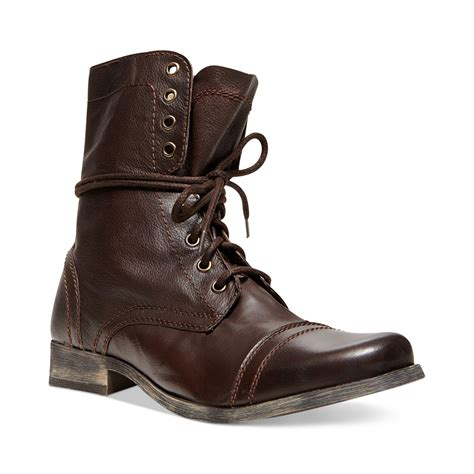 cap toe boots steve madden troopah2 cap toe boots in brown for