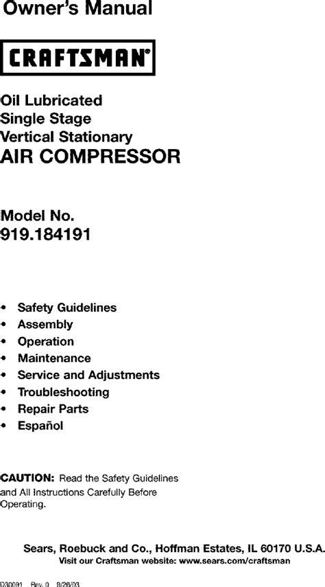 craftsman  user manual air compressor manuals