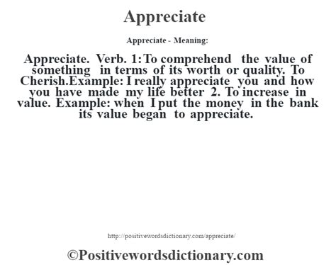 define biography verb appreciate definition appreciate meaning positive