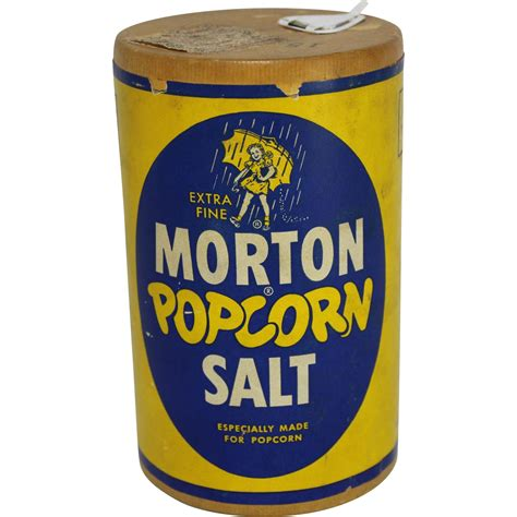 the original salt company l vintage morton popcorn salt cardboard container from