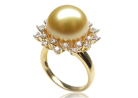 gold south sea pearl ring 12 13mm aaa pearl