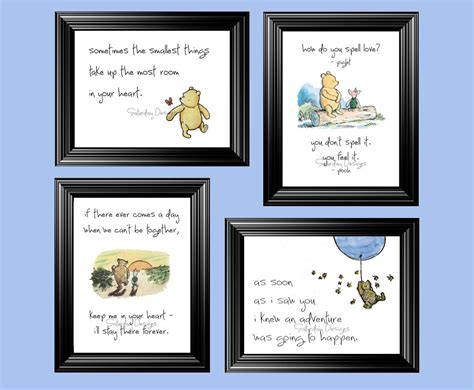 printable pooh quotes set of 4 classic winnie the pooh quotes 4x6 by saturdaydesigns