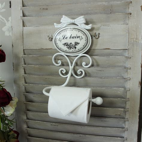 ivory painted metal toilet roll holder shabby vintage chic