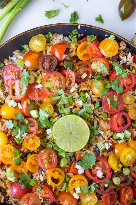 vegetarian mexican rice recipe easy mexican rice and bean skillet fooduzzi
