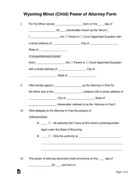 Free Wyoming Minor Child Parental Power Of Attorney Form Pdf Word Eforms Free Fillable Power Of Attorney Template Michigan