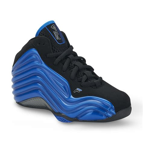 boys high top basketball shoes fila boy s vindicator black blue high top basketball shoe