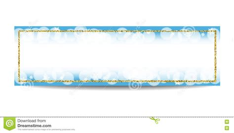 Winter Horizontal Banner Template With Golden Frame And Snowflakes Stock Vector Image 82038480 Winter Banner Templates