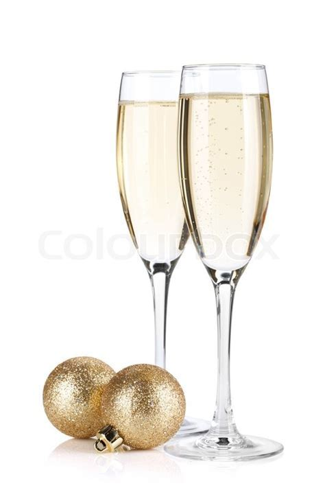 Champagne glasses and christmas balls   Stock Photo