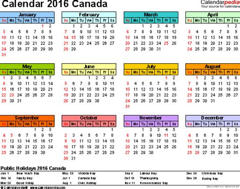 printable monthly calendars 2016 canada canada calendar 2016 free printable excel templates