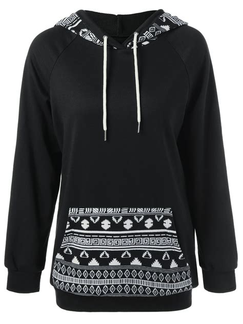 tribal pattern hoodies single pocket tribal pattern trim hoodie in black xl