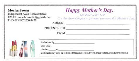 printable avon gift certificates avon gift certificate avon beauty rep monica