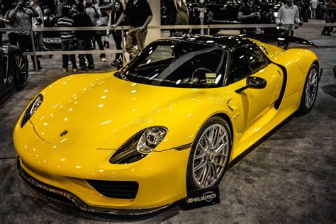 porsche yellow yellow porsche 918 spyder with weissach package