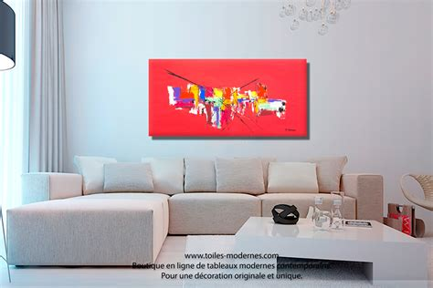 Incroyable Tableau Decoratif Salon #6: Tableau-contemporain-grand-espace-Le-paradis-rouge-.jpg