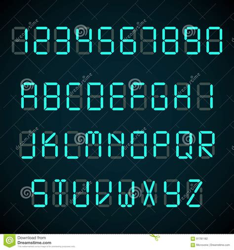 design digital font neon alphabet font style flat design cartoon vector