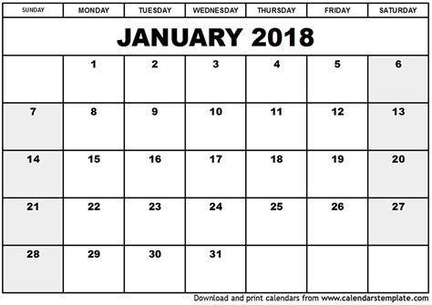printable january 2018 calendar pdf printable calendar january 2018 pdf yspages com