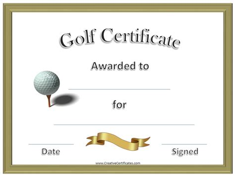 golf certificate templates golf awards