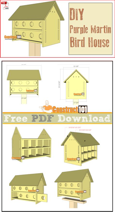 Purple Martin Bird House Plans Purple Martin Bird House Plans 16 Units Pdf Martin Bird House Bird House Plans And