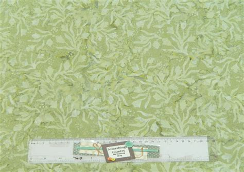 Batik Patchwork Fabric - quilting patchwork sewing fabric batik pale green leaves