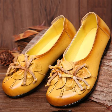 Genuine Leather Floral Flats flats socofy genuine leather floral tassel comfortable