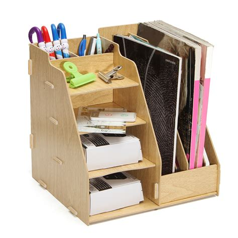 Multi Use Office Wood Desk Organizer File Holder Rack
