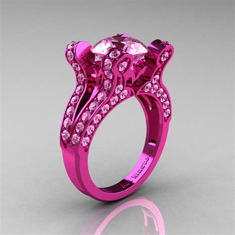 pink ring vintage 14k pink gold 3 0 ct light pink sapphire