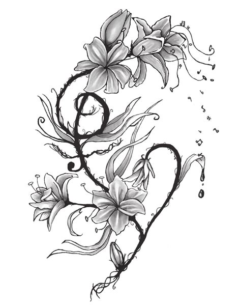 music and flower tattoo designs tattoos designs ideas and meaning tattoos for you