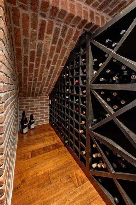 a small basement nook is put to use as a wine cellar
