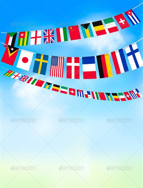 flags of the world quiz ppt background with world bunting flags and blue sky by