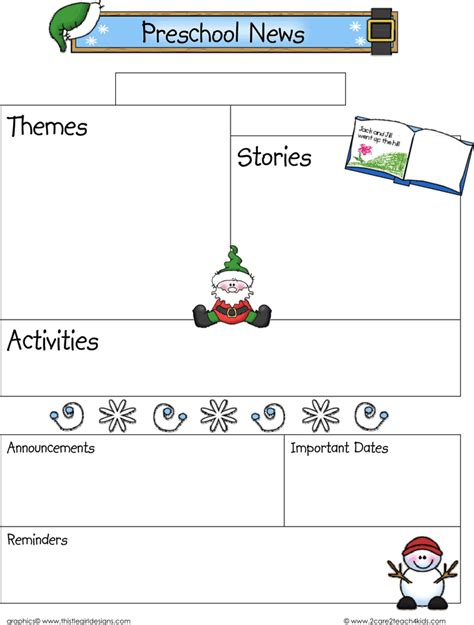 download december preschool newsletter template for free