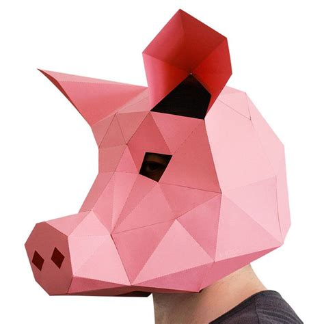 3d paper template pink 3d paper pig mask animal masks printable paper