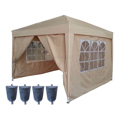 Folding Gazebo 3m X 3m Beige Pop Up Gazebo Waterproof Canopy Awning