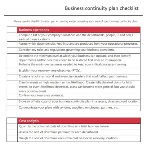 7 Free Business Continuity Plan Templates Excel Pdf Formats Free Contingency Plan Template Excel