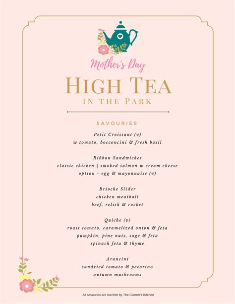 menu high tea menu template
