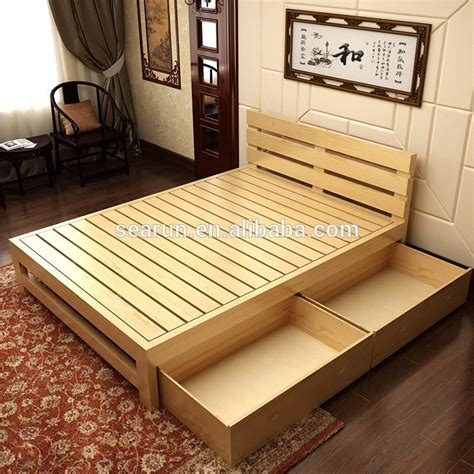 wood bed design solid wooden double bed with box teak wood modern bed