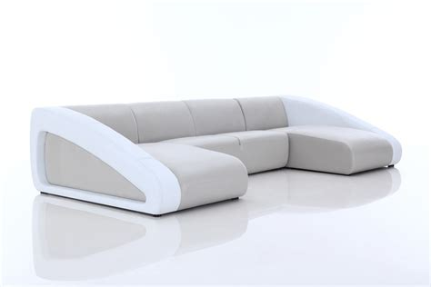 White And Grey Leather Sofa Divani Casa Pratt Modern Grey White Leather Sectional Sofa