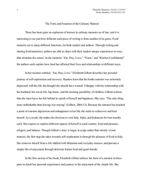 Food Memoir Essaymsword Writing A Memoir Template